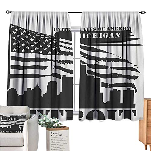 (Detroit Kitchen Curtain Monochrome Grunge City Silhouette American Flag United States Michigan Charcoal Grey White Curtain Valance W63 x L72)