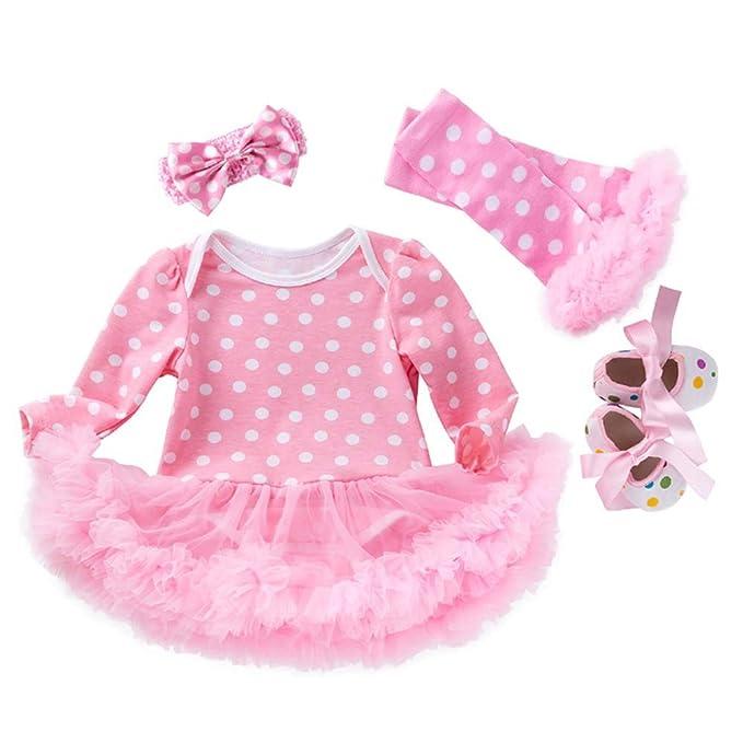 Liyukee - 0-2 años 4PCs Niñas Bebés Bodies Vestido de Tutú ...