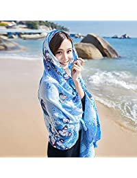 THSTVweijin Ms. Scarf Cotton Travel Scarf Vacation Sunscreen Scarf Air Conditioning Large Shawl Beach Towel THSTVweijin (Color : Butterfly Blue)