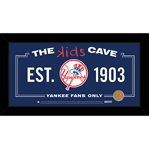 - MLB New York Yankees Kids Cave Sign with Game Used Dirt from Yankee Stadium, Blue, 10