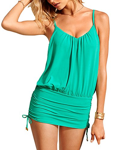 Brand Box Womens One Piece Sheer Bathing Suit Swimsuit Swimwear set (L Green)