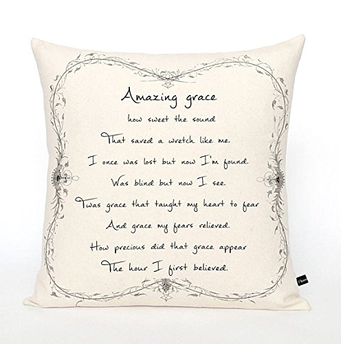 Pillow Cover Amazing Grace Christian 16x16 farmhouse cottage canvas cushion throw pillow by Pillow Cover