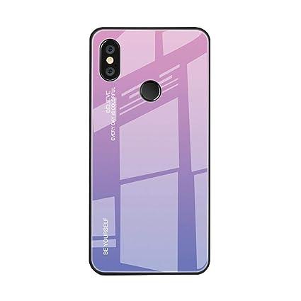 Zowam - Carcasa de TPU para Xiaomi Redmi Note 6 Pro, diseño Creativo y Suave, Color Degradado, Parte Trasera de Vidrio Templado, antiarañazos y Evita ...