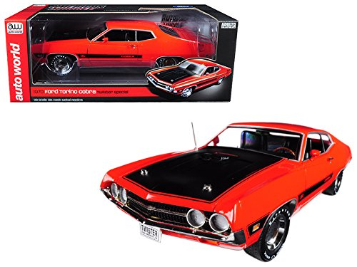 Autoworld AMM1112 1970 Ford Torino Cobra Twister Calypso Coral Limited Edition to 1002pc 1/18 Diecast Model Car 1970 Ford Torino Cobra Jet