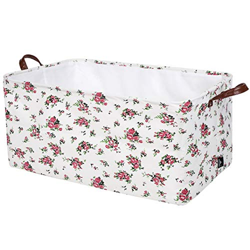 DOKEHOM 22-Inches Thickened X-Large Storage Basket -22x15x13 Inches- Drawstring Canvas Underbed Storage, Square Cotton Linen Collapsible Toy Basket (Roses, XL)