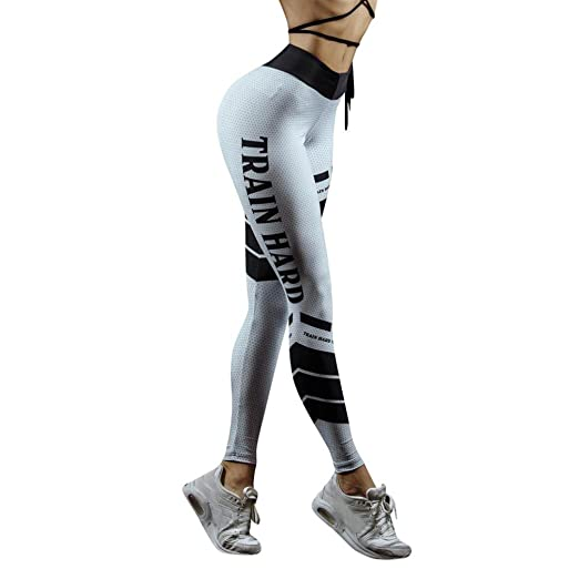 166ed12e513b9 Snowfoller Women Yoga Leggings,Train Hard Letter Printed Mid Waist Running  Workout Pants Fitness &