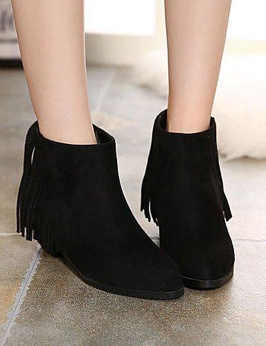 Tacones Puntiagudos us7 Casual Beige Cn38 Vestido Uk5 Cn39 Eu39 De Black Botas 5 Mujer Xzz Negro us8 Uk6 Bajo Eu38 5 Vellón Tacón Plataforma Zapatos Black ARxqv0xX