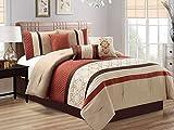 7-Pc Fez Lattice Geometric Quatrefoil Embossed Embroidery Pleated Comforter Set Rust Orange Khaki Brown Queen