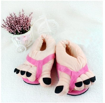 Pink Plush Slippers Warm Novelty Gift Eforstore Big Funny Toe Hot Soft Feet Adult Winter Shoes wgcFA4qp