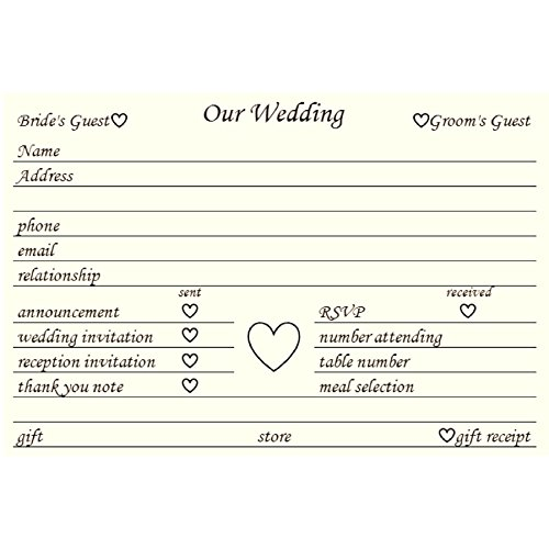 Colonial Cards: 100 White Parchment 4'' x 6'' Index Cards, Wedding Planning Organization Cards by Colonial Cards