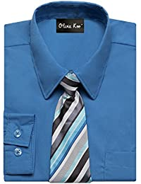 0485a36e Boys Solid Color Dress Shirt with Matching Tie Set in 14 Colors (Size 2T to