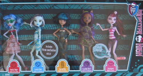 Monster High SKULL SHORES 5 DOLL Set w 3 EXCLUSIVE DOLLS Frankie, Cleo, Clawdeen & Ghoulia & Draculaura TARGET EXCLUSIVE (2012) -