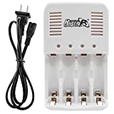 Universal Smart Charger for 1.2V - 1.6V Rechargeable Batteries NiCD NiMH NiZn AA AAA with 4 Independent Automatic Charging Slots and LED Indicator Function