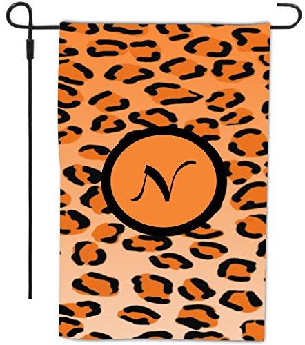 "Rikki Knight Letter ""N"" Initial Orange Leopard Print Mono..."