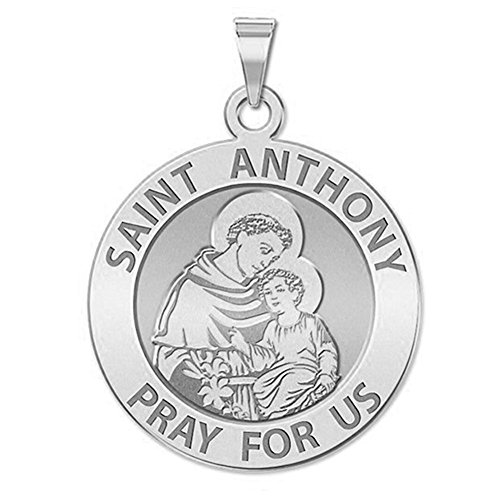 Saint Anthony Religious Medal   3 4 Inch   Sterling Silver