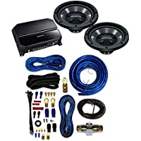 Kenwood P-W1221 Car audio Package includes KAC-5207 2-channel amplifier and Two KFC-W112S 12 subwoofers And 4 Gauge AMP Kit