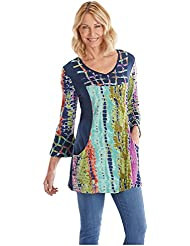 Parsley & Sage Womens Tie-Dye Tunic Top - V-Neckline, 3/4 Length Bell Sleeves