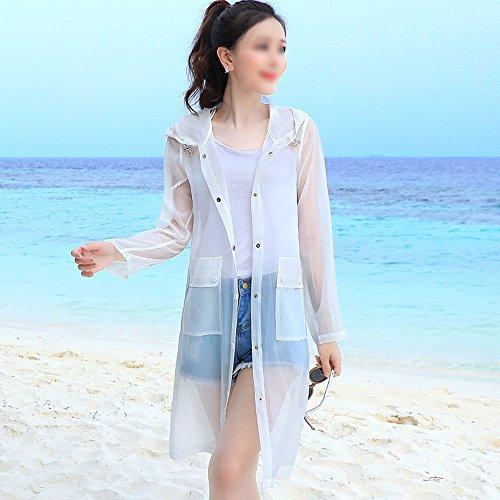 QFFL fangshaifu 通気性の長いセクション薄い日の保護服/夏のルースファッション白いコート/アンチUV自己栽培日焼け止め服 (サイズ さいず : L l)