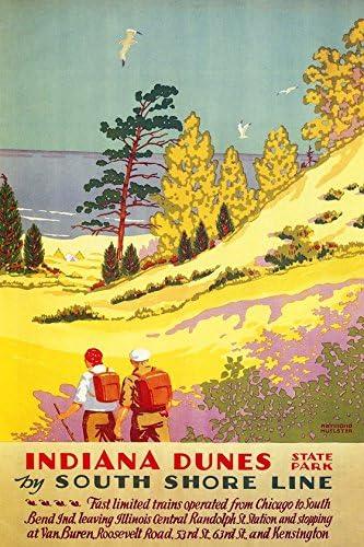 Autumn vintage South Shore Line poster repro 16x24