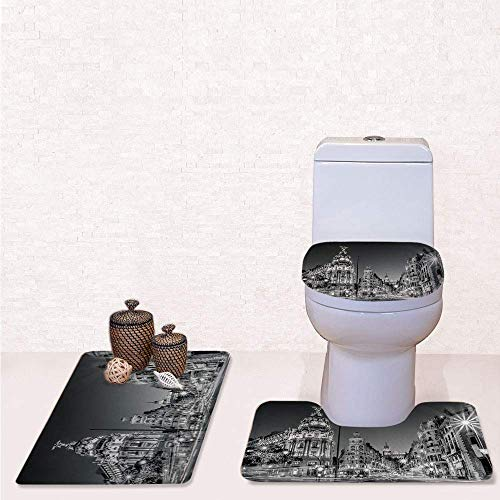 YGUII Comfort Flannel 3 Pcs Bath Rug Set,Contour Mat Toilet Seat Cover,Madrid City Night Spain Main Street Ancient Architecture Decorative with Grey,Decorate Bathroom,Entrance Door,Kitchen,Bedroom ()
