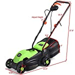 Goplus 14-Inch 12 Amp Lawn Mower w/Grass Bag Folding Handle Electric Push Lawn Corded Mower 15 【Height Adjustable and Comfortable Grip】This lawn mower features 3 level adjustable height: 1''/1.6''/2.2'', which is suitable for people of different heights. Equipped with ergonomic curved handle, it provides a more natural, comfortable grip. 【Perfect Cutting Deck】14-inch cutting deck offers a great balance of maneuverability and cutting capacity making it ideal for different areas. It is a good choice for you to clean your garden more quickly. 【Big Collection Box】With a big collection grass box, the capacity to collect grass is 30L. It makes sure that your lawn clean when you are weeding and it also is more convenient for you to quickly finish the job.