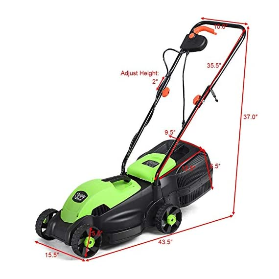 Goplus 14-Inch 12 Amp Lawn Mower w/Grass Bag Folding Handle Electric Push Lawn Corded Mower 7 【Height Adjustable and Comfortable Grip】This lawn mower features 3 level adjustable height: 1''/1.6''/2.2'', which is suitable for people of different heights. Equipped with ergonomic curved handle, it provides a more natural, comfortable grip. 【Perfect Cutting Deck】14-inch cutting deck offers a great balance of maneuverability and cutting capacity making it ideal for different areas. It is a good choice for you to clean your garden more quickly. 【Big Collection Box】With a big collection grass box, the capacity to collect grass is 30L. It makes sure that your lawn clean when you are weeding and it also is more convenient for you to quickly finish the job.