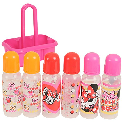 Disney Minnie Mouse 6 Piece Bottles in a Caddy, Pink