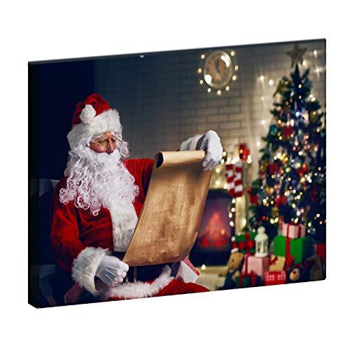 Claus Wall Santa (Somnus Christmas Tree Artwork Canvas Print Wall Art Decorations Santa Claus with White Beard Wall Decor Wall Mural Painting,Christmas Artwork for Decoration Unframed Canvas 16x20'')