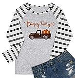 Happy Fall Y'all Pumpkin Baseball Shirt Blouse Women Halloween Thanksgiving Long Raglan Sleeve Shirt Top Size M (Stripe)