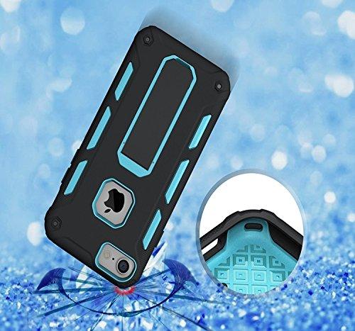 GR Para IPhone 7 Cool Shockproof Armor Hybrid TPU y PC resistente con caja de Kickstand ( Color : Blue ) Blue