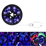 Fntek Black Light UV LED Strip Lights, 6.6Ft Flexible Waterproof IP65 UV Light Strip with USB Adapter for Blacklight Party Birthday Wedding Stage Lighting