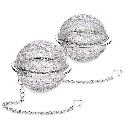 (2Pcs Stainless Steel Tea Ball, 2.04 Inch Mesh Tea Infuser Strainers, Premium Tea Filter Tea Interval Diffuser for Loose Leaf Tea and Seasoning Spices)