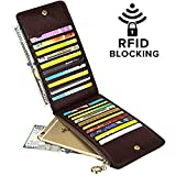 YALUXE Women's RFID Blocking Genuine Leather Multi Card Organizer Wallet with Zipper Pocket RFID Blocking Coffee