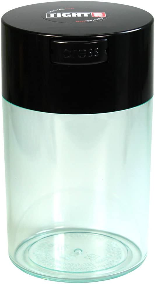 Tightvac - 1 oz to 6 ounce Airtight Multi-Use Vacuum Seal Portable Storage Container for Dry Goods, Food, and Herbs - Black Cap & Clear Body