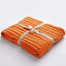 """NTBAY 100% Cotton Cable Knit Throw Blanket Super Soft Warm Multi Color( 51""""x 67"""", Orange)"""