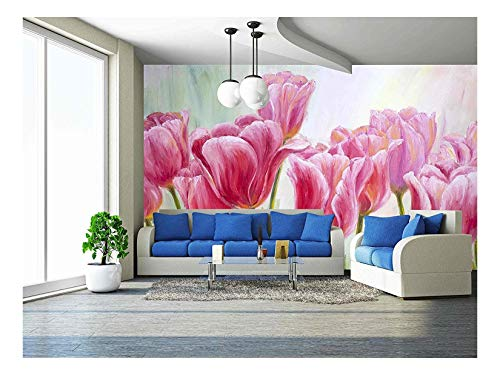 wall26 - Tulips, Oil Painting on Canvas - Removable Wall Mural | Self-Adhesive Large Wallpaper - 100x144 inches - One Tulip Canvas