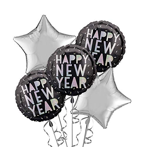 Party City Disco New Year's Eve Balloon Kit, Party Supplies, Black and Silver, Includes Balloons and Curling Ribbon ()