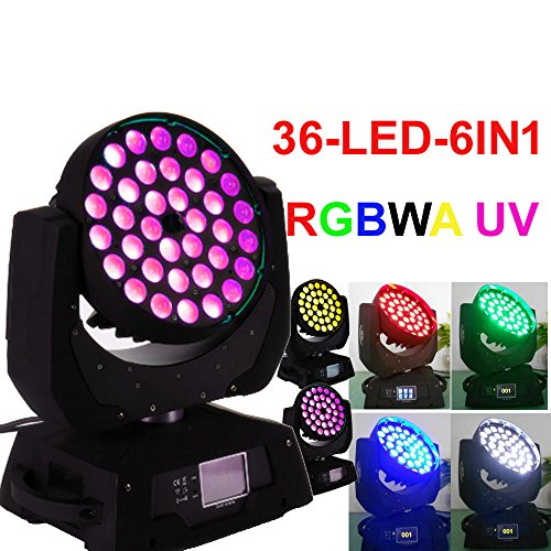 2PCS 36 led 18w 6in1 RGBWA UV zoom moving head light led disco wash stage lighting
