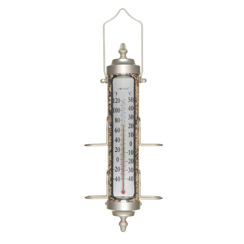 CONANT Grande View 2-in-1 Birdfeeder and Thermometer, 17.5-Inch, Satin Nickel