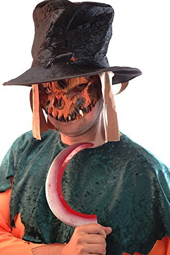 Adult Scary Crow Costumes Plus Size - Karnival Panto-Stage-Halloween-Scary-Evil- Scarecrow Mask, Plastic Weapon