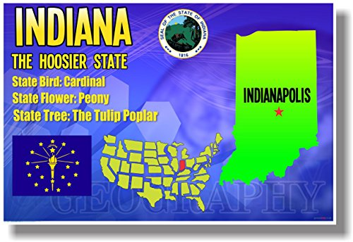 - Indiana Geography - NEW U.S Travel Poster
