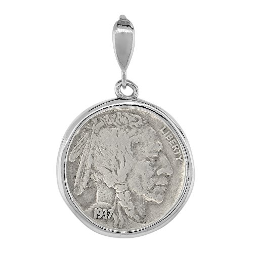 Sterling Silver Nickel Bezel 21 mm Coins Prong Back Round Edge 5 Cent -