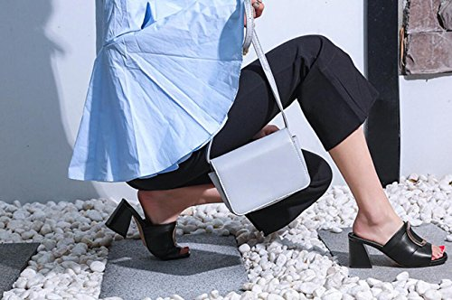 Zapatos del de del Las Bloque caseros Negro de Zapatos de Sandalias Elegante tacón Cuadrado Mujer Sandalias Hebilla DANDANJIE señoras Alto Deslizador la Metal Zapatos de UqYY1wv