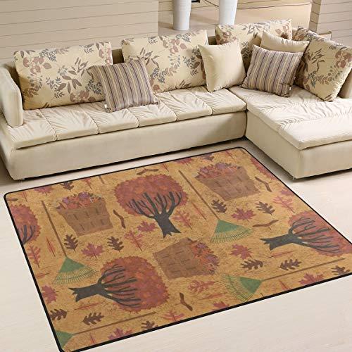 LORVIES Autumn Halloween Wallpaper Area Rug Carpet Non-Slip Floor Mat Doormats for Living Room Bedroom 80 x 58 inches