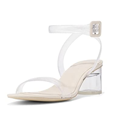 2ddb689c039e GIY Womens Clear Strappy Block Heel Ankle Strap Adjustable Buckle Peep Toe  Low Chunky Sandal