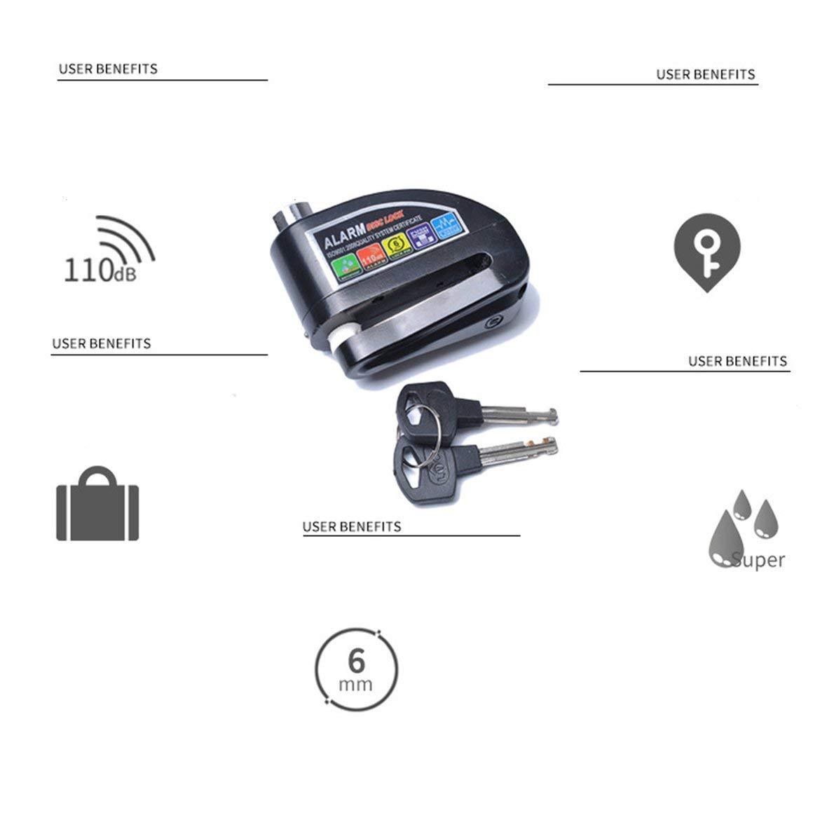 shengerm Motorcycle Alarm Lock Motorbike Anti-Theft Alarm Wheel Disc Brake Security Safety Siren Lock