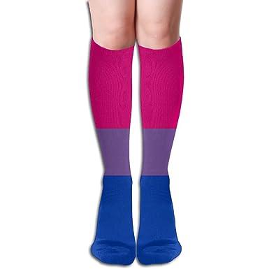 Bisexual Soccer Compression Socks Stylish Tie Dye Travelers For Women Knee Socks