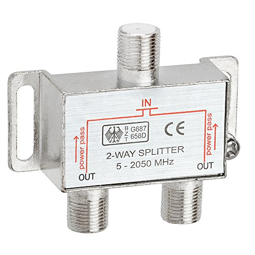 - Cmple 2-Way Splitter 2050MHz F-Type 2.05Ghz 2 Way Coaxial Cable Splitter (RG6 Splitter, Coaxial Splitter, TV Splitter,