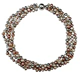 Peach/Silver Grey/White Baroque Cultured Pearl Four Strand Chunky Necklace With Silver Magnetic Clasp