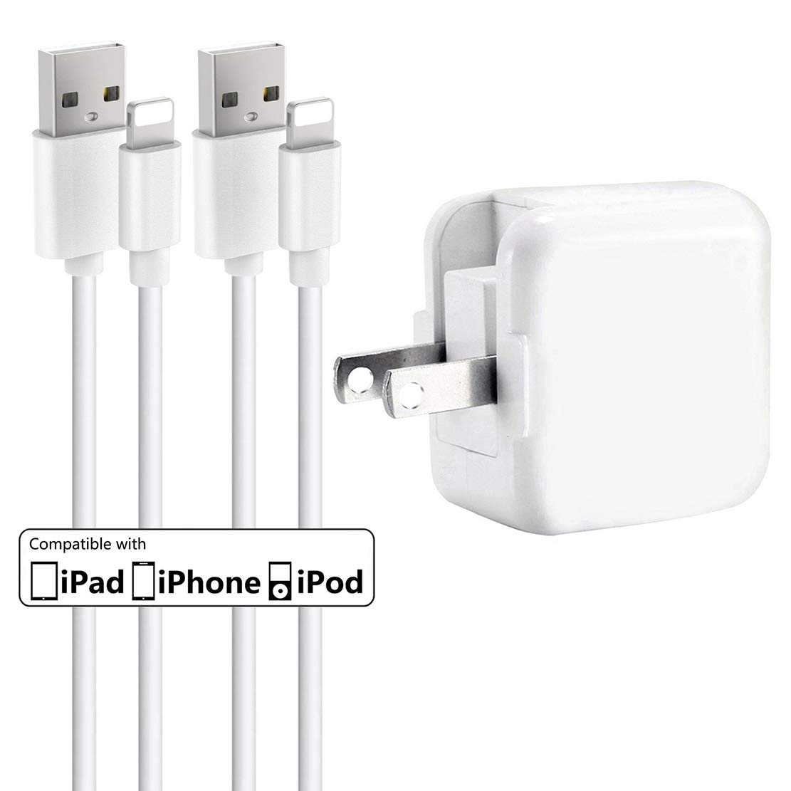iPhone Charger iPad Charger,Baoota 2.4A 12W USB Wall Charger Foldable Portable Travel Plug and 2 Pack 8 Pin Charging Cable Compatible with iPhone,iPad by Baoota